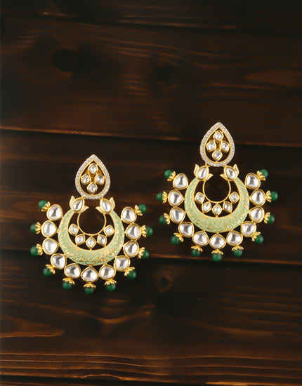 Gold Finish Green Colour Kundan Earring For Women