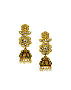 Floral Design Gold Finish Styled With Pearls Beads Kundan Earrings