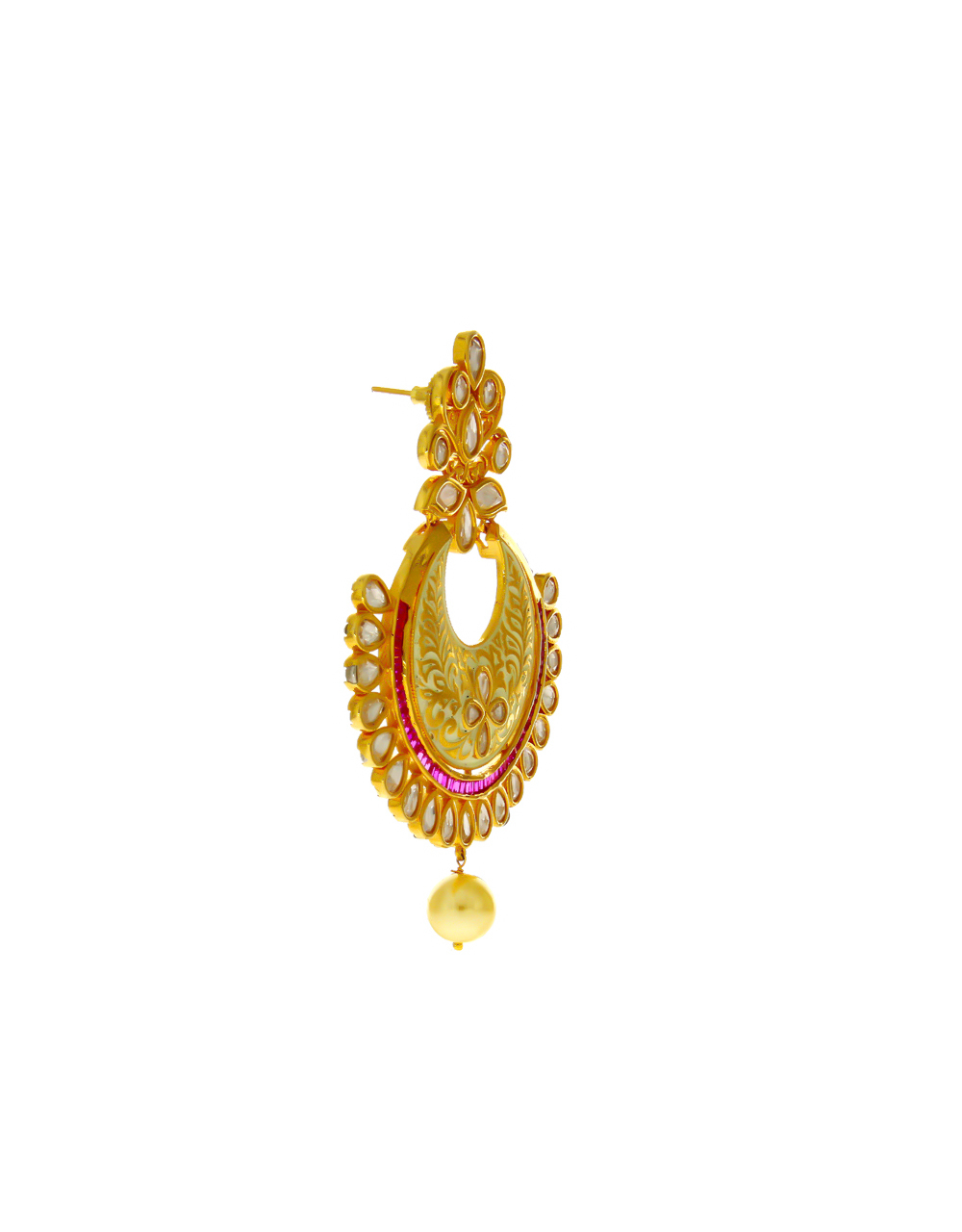 Pink Colour Gold Finish Studded With Kundan Fancy Earrings