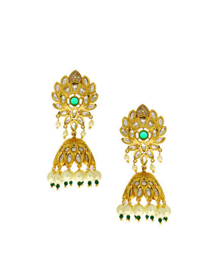 Green Colour Gold Finish Jhoomka Kundan Earrings