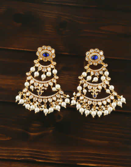 Blue Colour Gold Finish Styled With Pearls Beads Kundan Earrings