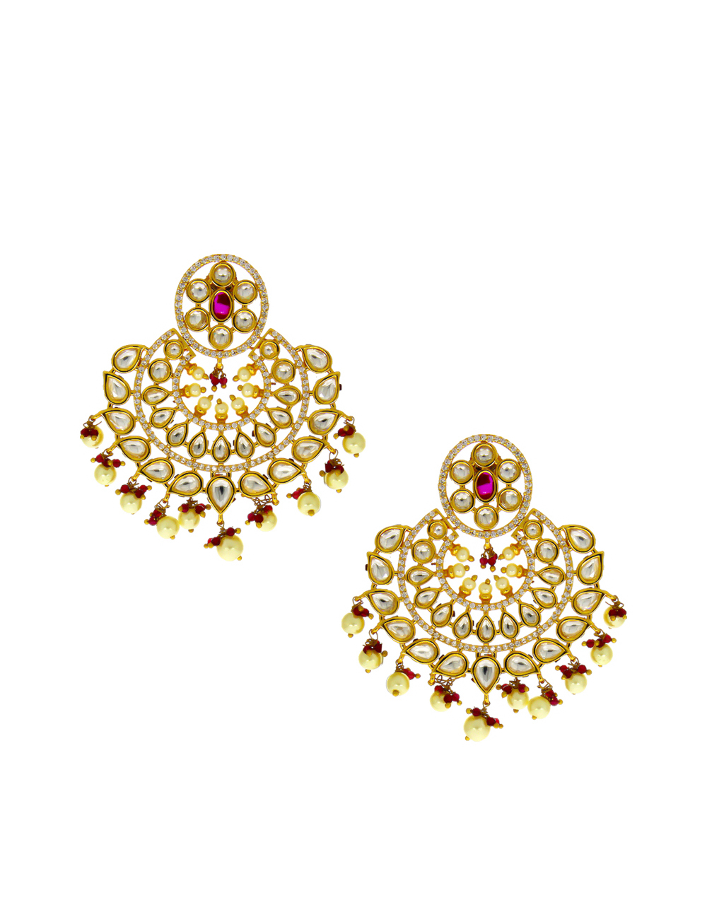 Pink Colour Gold Finish Styled With Pearls Beads Fancy Kundan Earrings