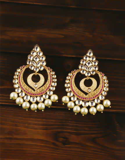 Very Classy Designer Gold Finish Kundan Chandbali Earrings