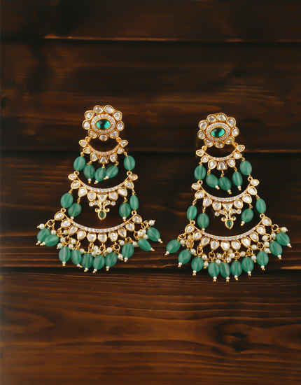 Green Colour Gold Finish Styled With Beads Fancy Earrings