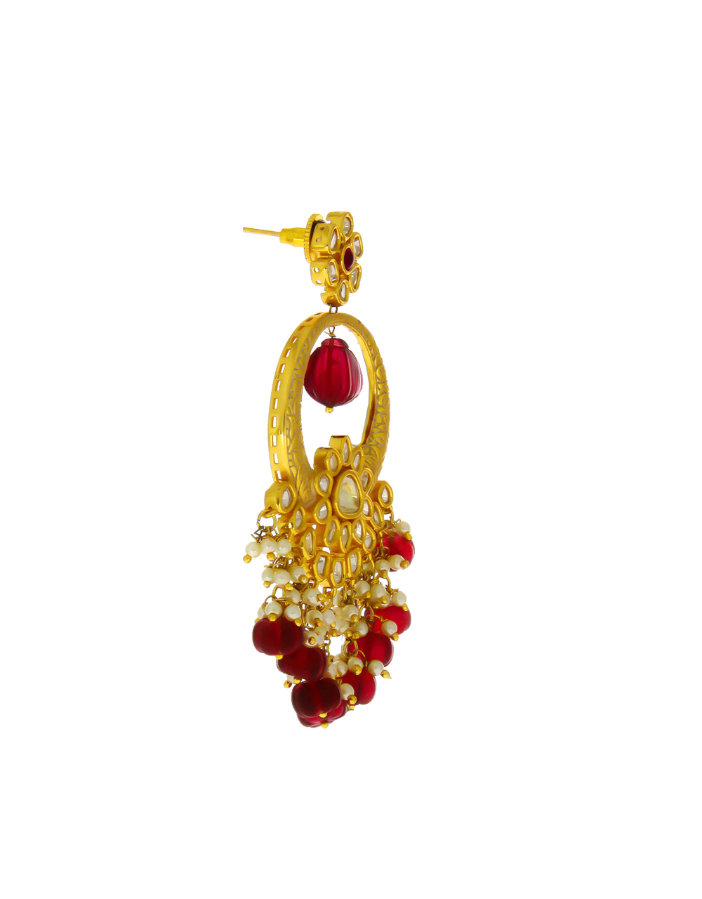 Red Colour Designer Gold Finish Styled With Fancy Kundan Earrings