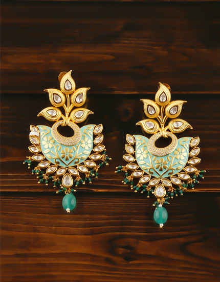 Beautiful Gold Finish Kundan Earrings For Women Fancy Wedding Wear