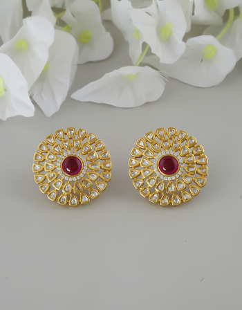 Pink Colour Gold Finish Studded With Diamond Artificial Kundan Tops