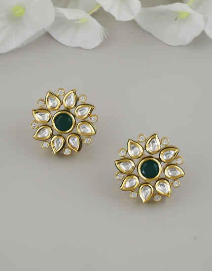 Green Colour Gold Finish Kundan Stylish Ear Tops For Women