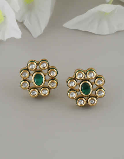 Green Colour Gold Finish Traditional Kundan Ear Tops