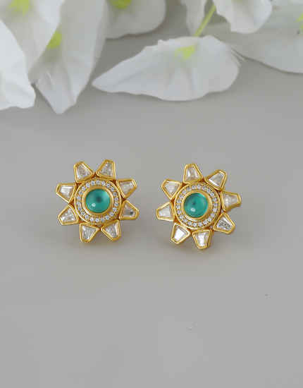 Green Colour Unique Design Gold Finish Stunning Kundan Ear Tops