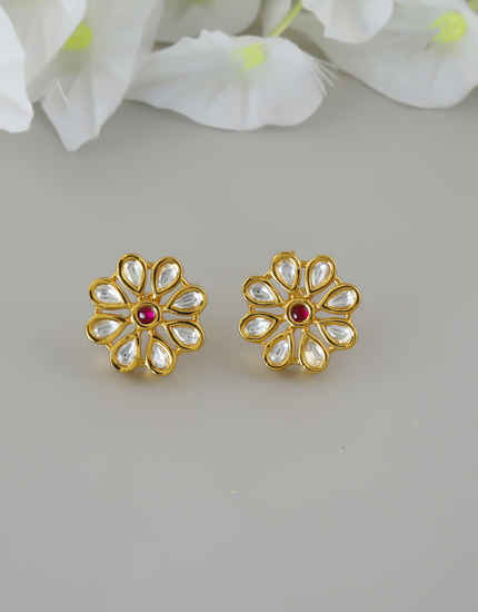 Floral Design Gold Finish Kundan Traditional Ear Tops For Women