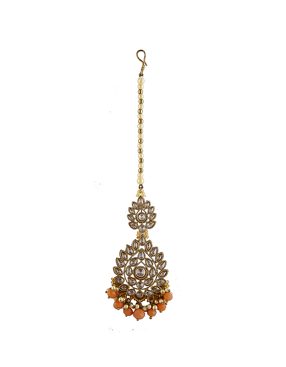 Orange Colour Gold Finish Styled With Beads Fancy Necklace Jewellery