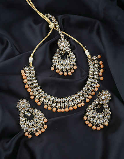 Orange Colour Antique Gold Finish Stunning Traditional Wedding Jewellery