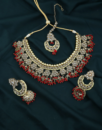Red Colour Fancy Antique Gold Finish Stunning Traditional Necklace