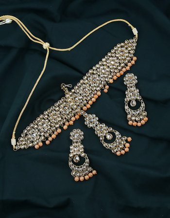 Adorable Orange Colour Antique Gold Finish Chokar Necklace