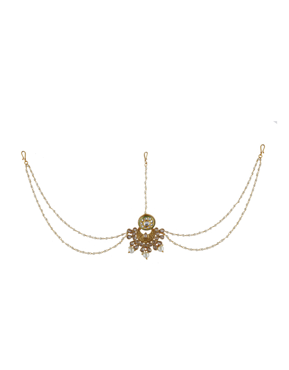 Gold Finish Studded With Stones Fancy Traditional Matha Patti