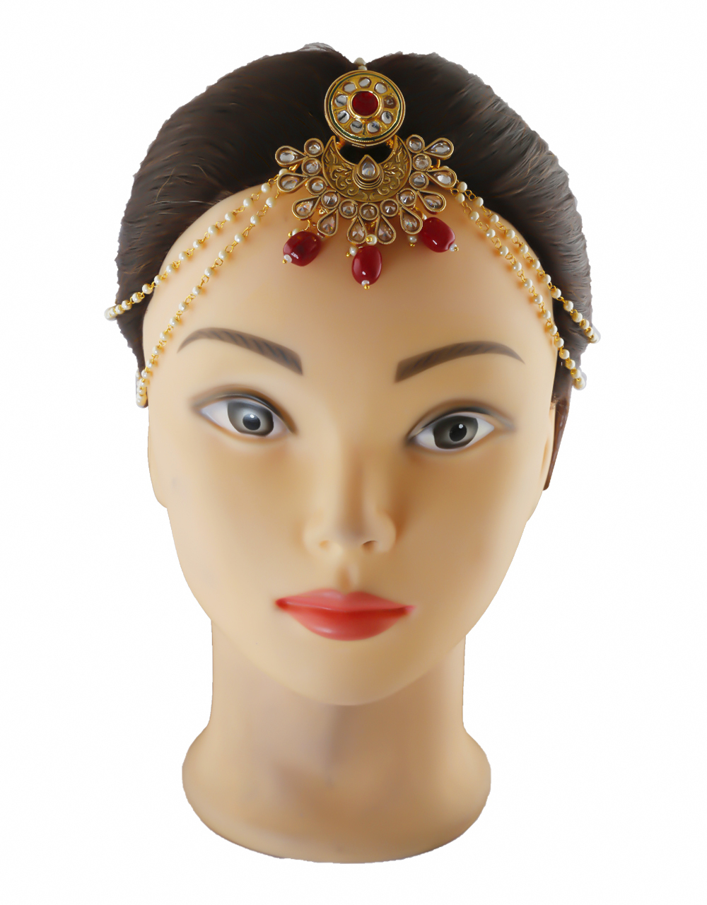 Pink Colour Gold Finish Styled With Beads Fancy Traditional Kundan Matha Patti