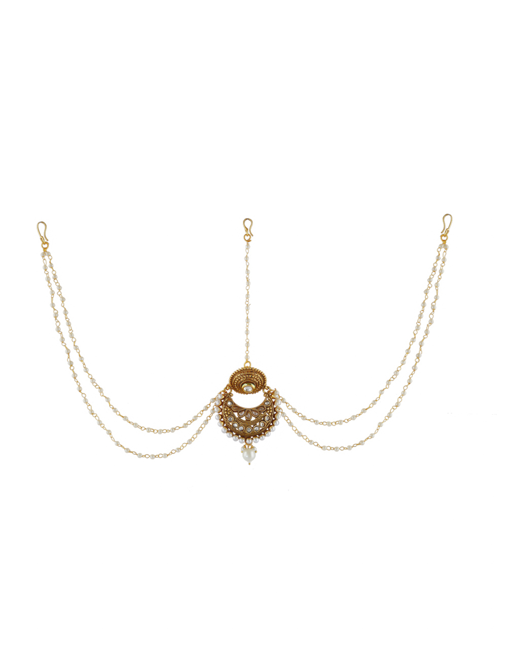 Antique Gold Finish Styled With Pearls Beads Fancy Matha Patti