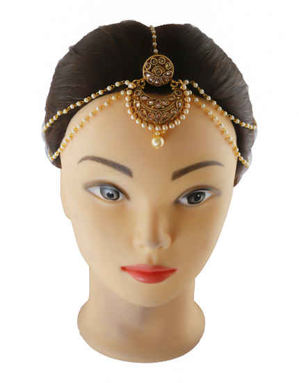 Traditional Gold Finish Matha Patti Studded With Stones Matha Patti