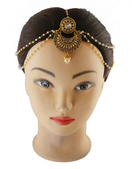 Antique Gold Finish Studded With Stones Mang Matha Patti