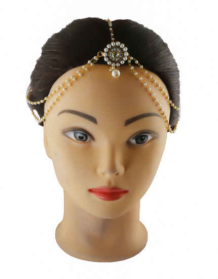 Antique Gold Finish Matha Patti Styled With Pearls Beads Hair Matha Patti