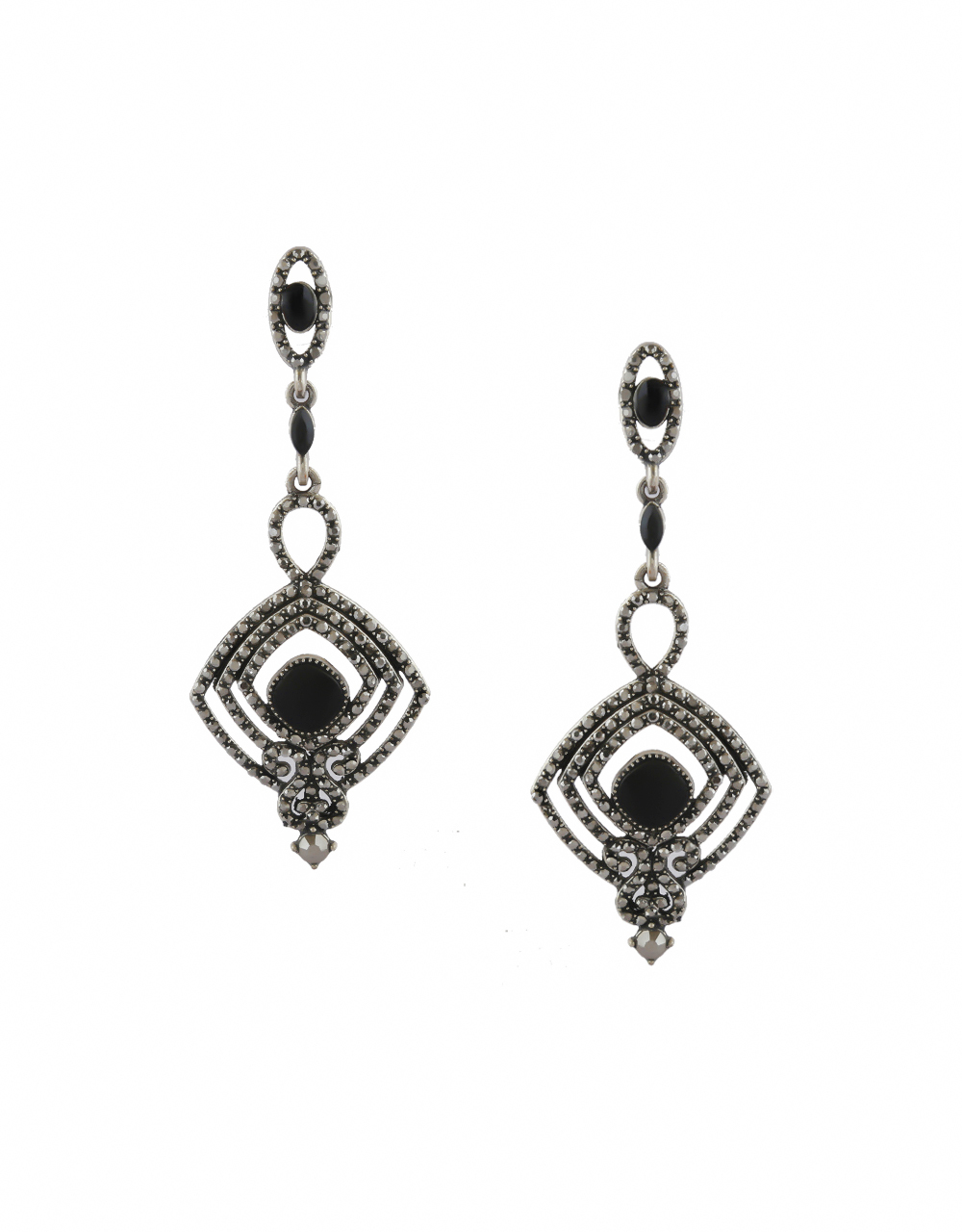 Black Colour Silver Finish Stylish Earrings For Girls