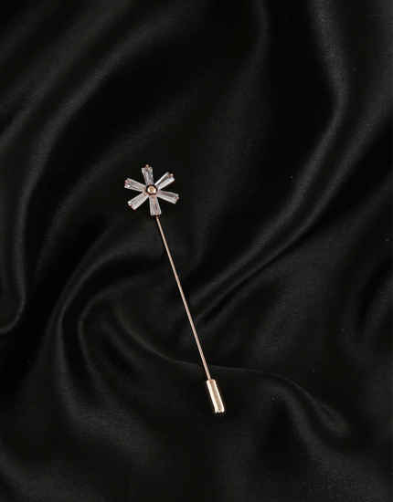 Rose Gold Finish Floral Design Brooch Pin For Girls