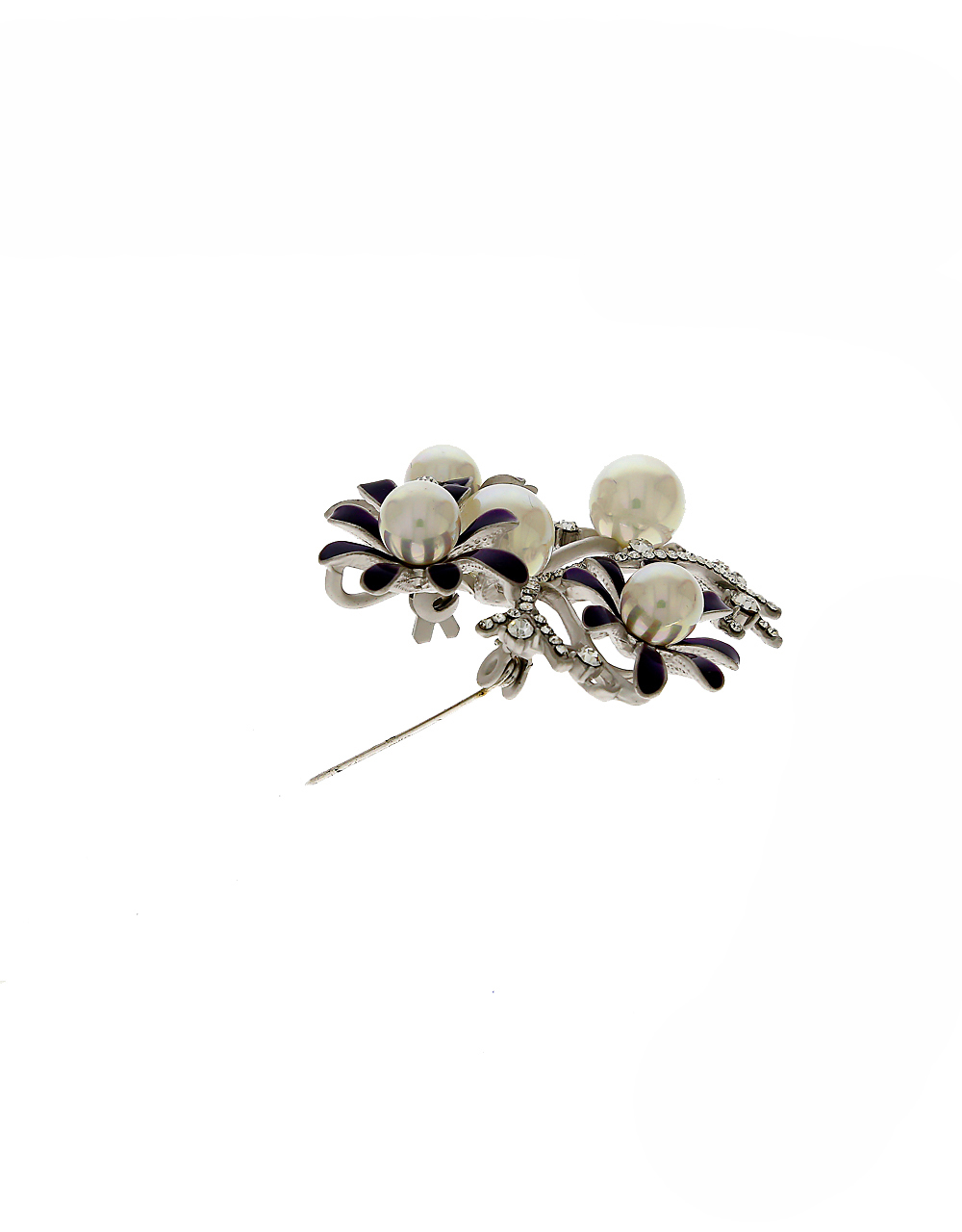 Purple Colour Silver Finish Brooch Styled With Pearls Beads Brooch