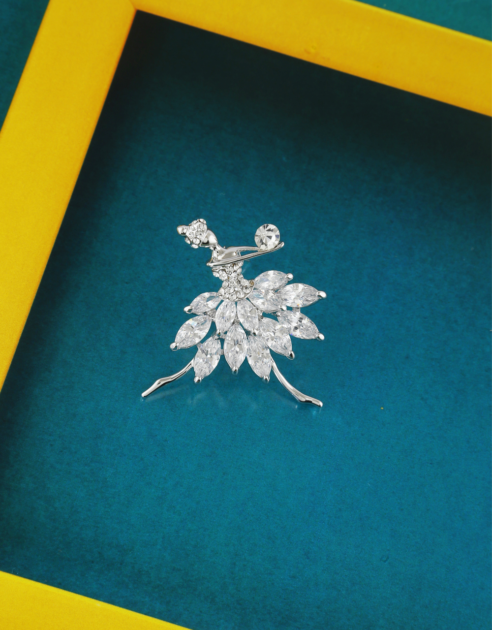 Silver Finish Dancing Doll Brooch For Women