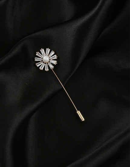 Silver Finish American Diamond Fancy Brooch