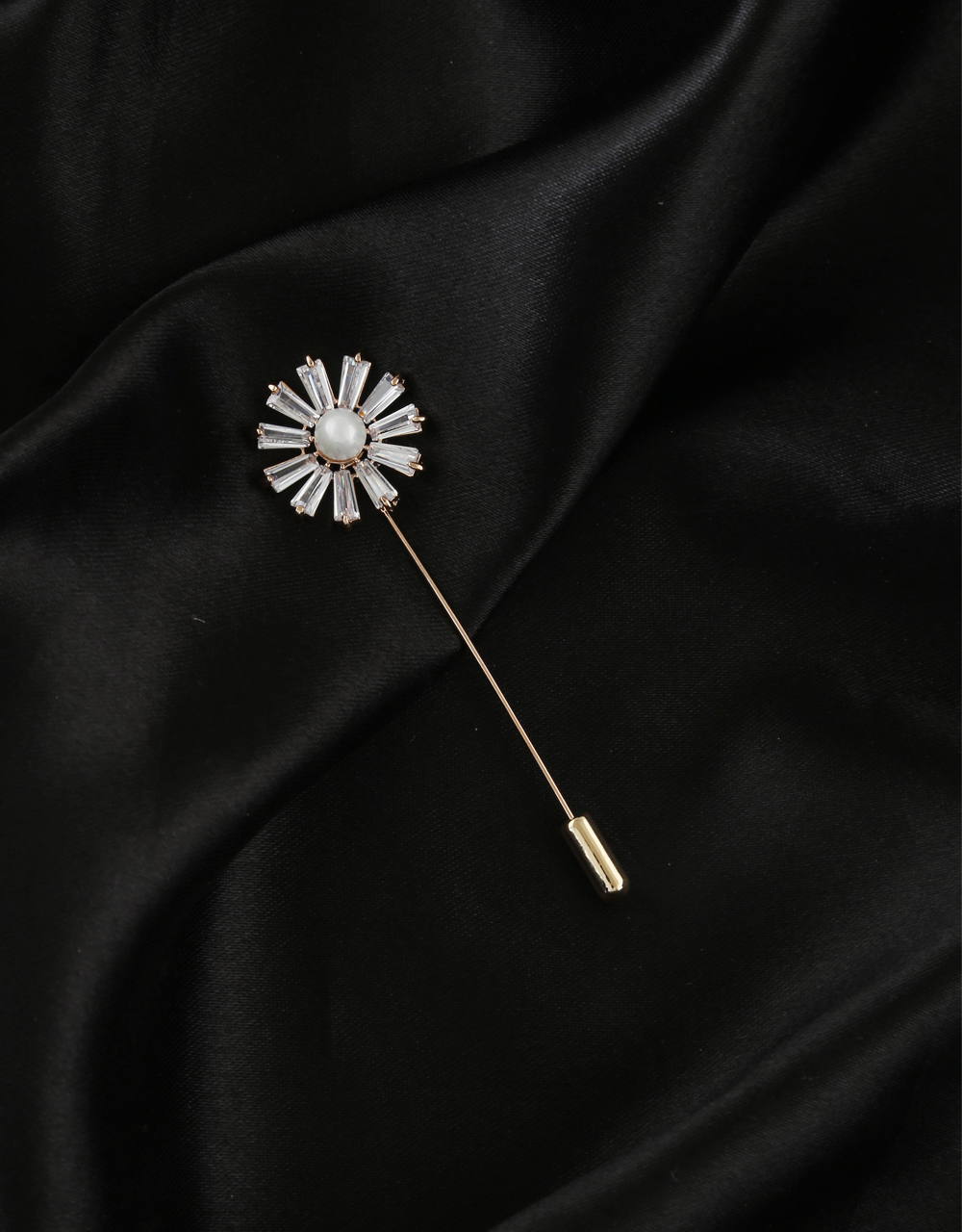Silver Finish American Diamond Fancy Brooch