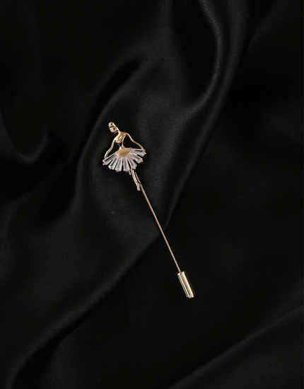 Rose Gold Finish Dancing Lapel Pin Brooch For Men