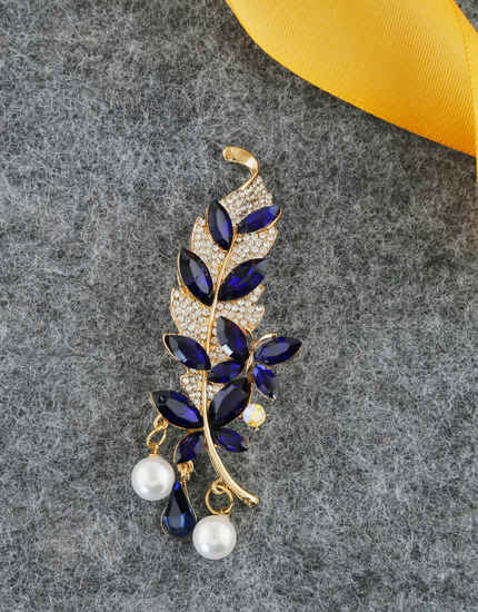 Blue Colour Gold Finish Fancy Brooch For Wedding