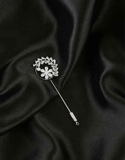 Silver Finish Floral Design Simple American Diamond Lapel Pin