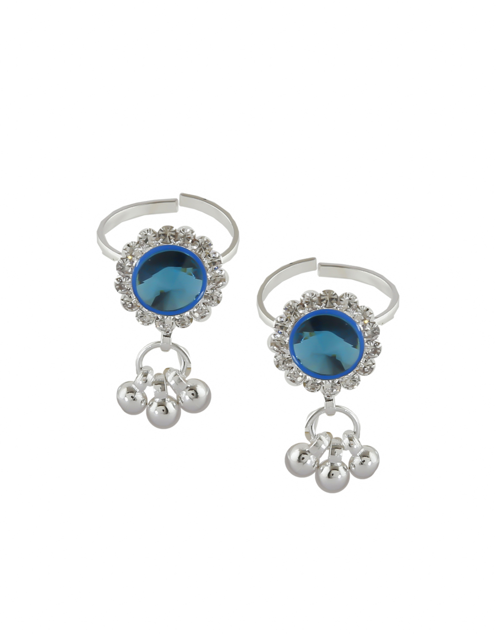Turquiose Colour Silver Finish Styled With Beads Fancy Toe Rings
