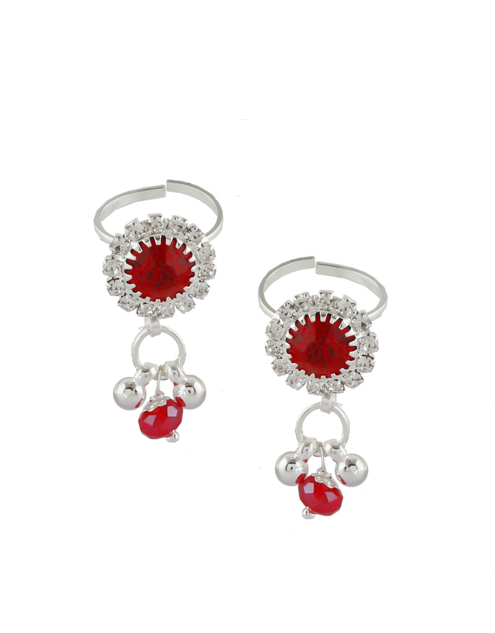 Red Colour Silver Finish Adorable Bichiya Rings