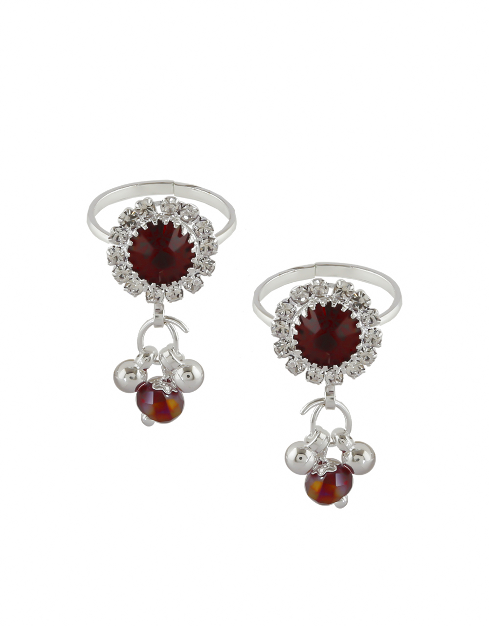 Maroon Colour Toe Ring Styled With Beads Bichudi