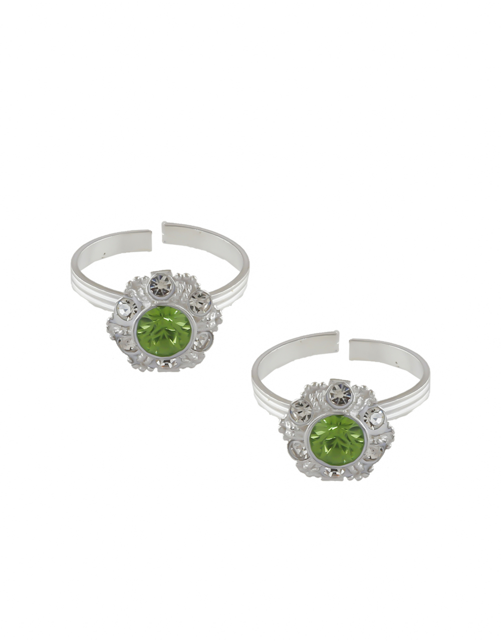 Green Colour Silver Finish Simple Wear Toe Rings