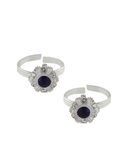Blue Colour Silver Finish Stunning Toe Ring For Women