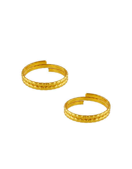 Gold Finish Simple Delicate Toe Ring For Women