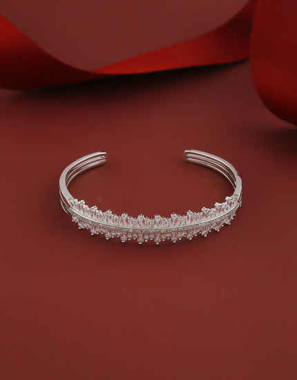 Silver Finish Fancy American Diamond Bracelets For Girls Trendy