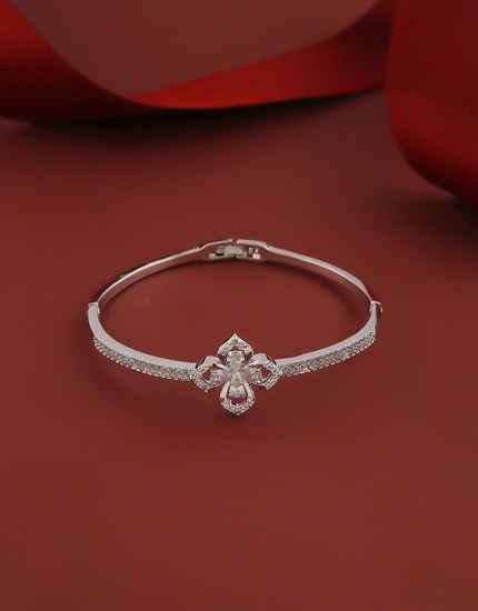 Floral Design Silver Finish American Diamond Bracelets