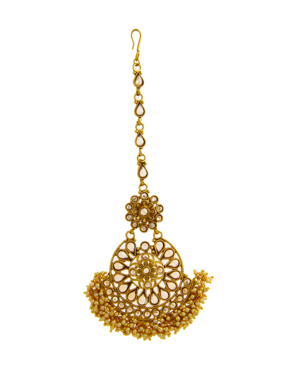 Floral Design Gold Finish Adorable Fancy Mang Tikka For Girls