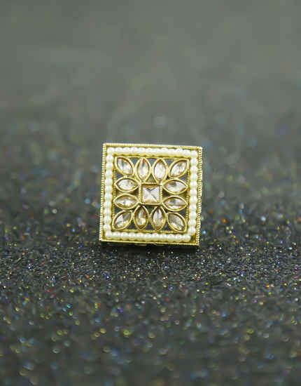 Antique Gold Finish Square Design Pearls Styled Finger Rings