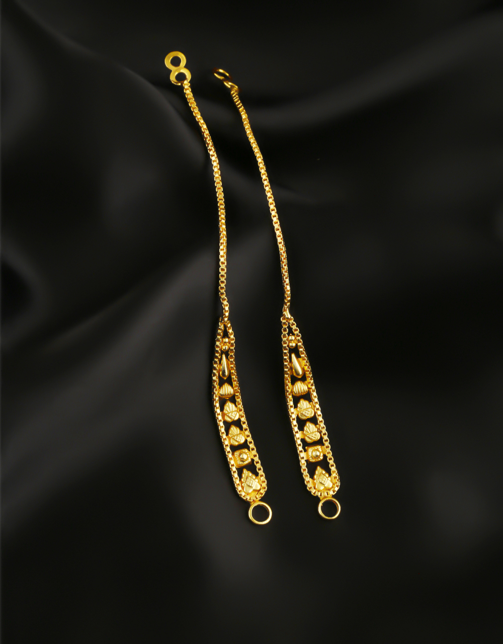 Floral Design Gold Finish Ear Kaanchain For Weddings