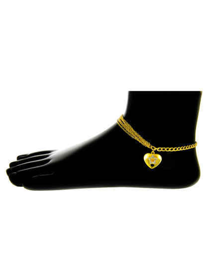 Gold Finish Anklet For Girls Western Wear