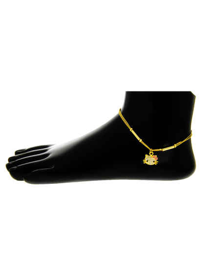 Adorable Gold Finish Kitty Design Anklet For Girls