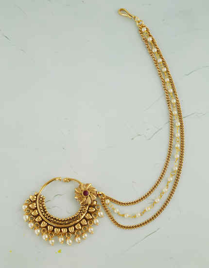 Traditional Gold Finish Nose Ring Styled With Pearls Beads Nathani