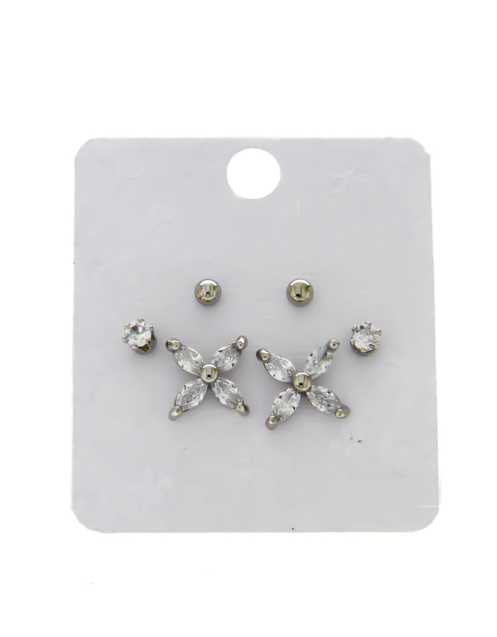 Floral Design Silver Finish Combo Ear Stud For Girls
