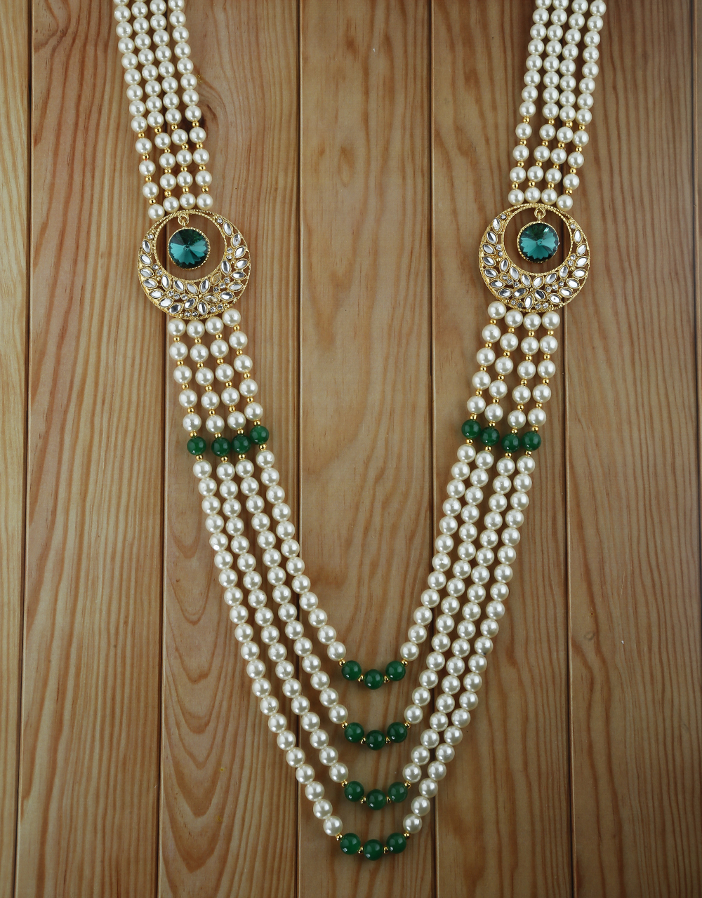 Green Colour Gold Finish Pearls Styled Moti Mala For Men